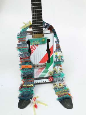 Winning design - a guitar strap made from discarded fishing net