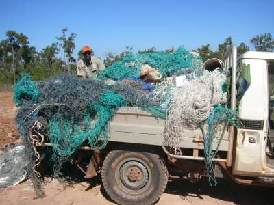 All in a days work - fishing nets collected from Australia's northeast Arnhem Land coastline